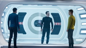 Captain Kirk and Spock bring the villain Khan (Benedict Cumberbatch) in Star Trek Into Darkness.