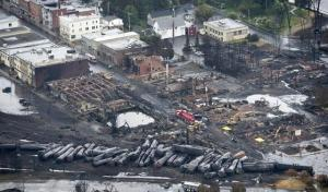 Burned out buildings and burned out oil tankers lay in the aftermath of a train derailment in Lac-Megantic, Quebec.