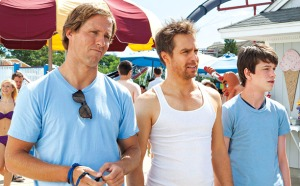 Sam Rockwell (centre) gives Liam James (right) more than just a summer job in The Way, Way Back.