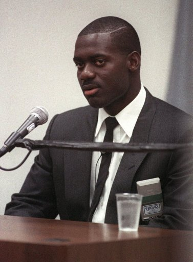 Ben Johnson taking the stand at the Dubin Inquiry in June 1989, eight months after testing positive for stanozolol at the Seoul Olympics.