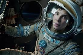 Sandra Bullock plays a rookie astronaut who struggles to survive in space after a freak accident in Gravity.