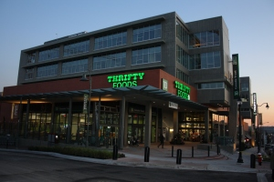The addition of new buildings and new stores like Thrifty Foods has helped give new life to the Brewery District since the brewery closed in 2004.