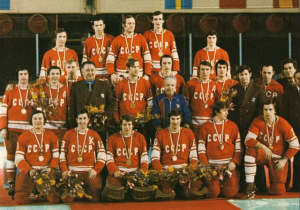 The most famous winter Olympic legacy of Soviet athletes probably came from its hockey players with Vladislav Tretiak (bottom, third from right) considered the best goalie in history.