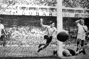 The goal scored by Alcides Ghiggia (centre) in the 79th minutes stunned the Maracana silent and would break the hearts of Brazil.