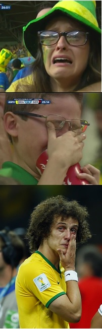 Images of Brazil's heartbreak: (from top) young woman, young boy and a distraught  David Luiz.