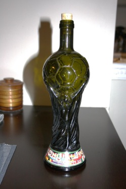 Like it? That's an Italian wine bottle shaped in the World Cup. I got it back in 1990 when Italy hosted, and finished third.