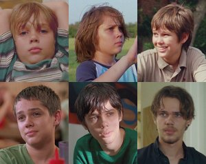 Boyhood is a movie of the growing years of Mason Evans Jr. (played by Ellar Coltrane) shot over a period of twelve years.
