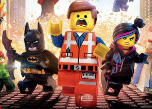Emmet Brickowski (centre) becomes the unlikely hero in The LEGO movie.