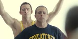 John DuPont (Steve Carell) tries to be a wrestling mentor to Mark Schultz (Channing Tatum) in Foxcatcher.