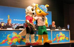 Shueme was warmly greeted by Fuleco in Brazil during the Men's World Cup last year.