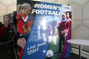 FIFA's Live Your Goals campaign to expand women's football was a major feature at the Fan Zone.