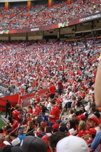 The crowd was packed full of Canada fans.