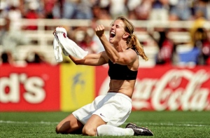 Brandi Chastain's shirtless celebration from USA 1999. One of the most iconic images of the Women's World Cup.