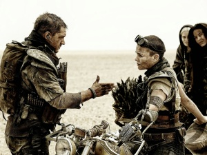 Tom Hardy (left) and Charlize Theron pursue a post-apocalyptic world in Mad Max: Fury Road.