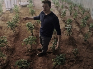 Matt Damon plays an astronaut stranded on Mars but determined to live in The Martian.
